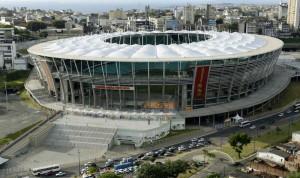 File photo of an aerial shot showing Arena Fonte Nova stadium in Salvador