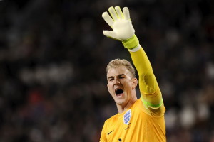 England's goalkeeper Joe Hart reacts during their international friendly soccer match against Italy in Turin