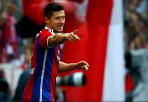 Bayern Munich's Lewandowski celebrates after he scored against Eintracht Frankfurt during their German Bundesliga first division soccer match in Munich