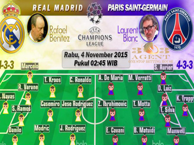 Susunan Pemain Real Madrid Vs PSG